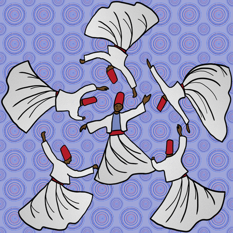 A whirl of dervishes on pale blue fabric by su_g on Spoonflower - custom fabric