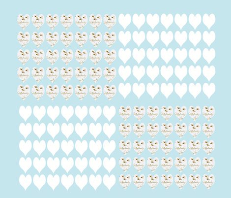 Hearts and French Script Tiffany Blue Six