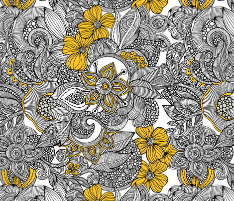 Doodles black and yellow fabric by valentinaharper on Spoonflower - custom fabric