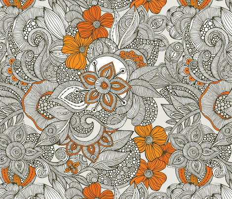 Doodles dark grey and orange fabric by valentinaramos on Spoonflower - custom fabric