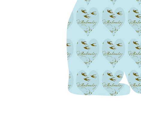 Hearts and Frech Script Tiffany Blue Cat fabric by karenharveycox on Spoonflower - custom fabric