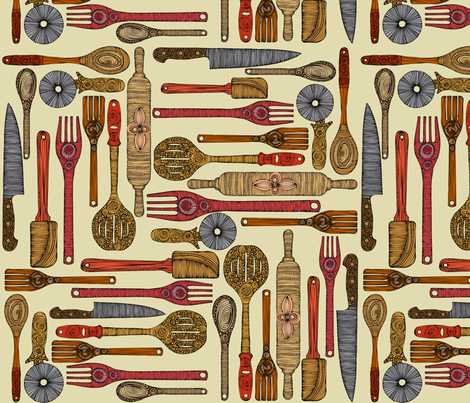 Let's cook fabric by valentinaharper on Spoonflower - custom fabric