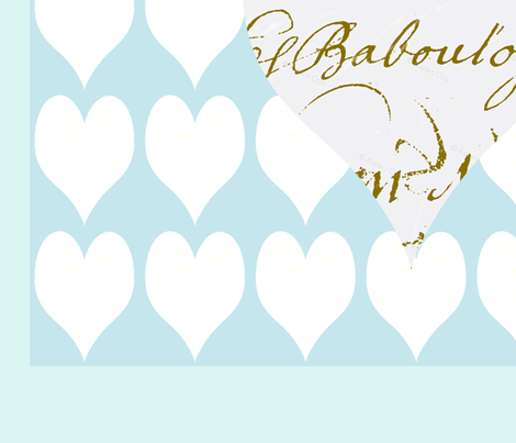 Hearts and French Script on Tiffany Blue fabric by karenharveycox on Spoonflower - custom fabric