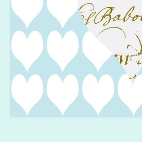 Hearts and French Script on Tiffany Blue