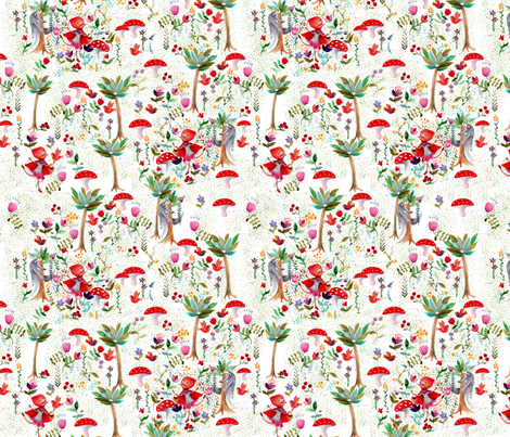 attention au grand méchant loup___S fabric by nadja_petremand on Spoonflower - custom fabric