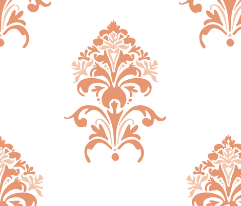 Tuscan Floral in coral fabric by katphillipsdesigns on Spoonflower - custom fabric