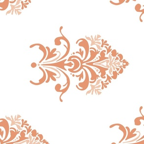 Tuscan Floral in coral - railroaded
