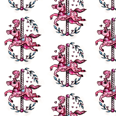 Pink merry-go-round horse fabric by vinkeli on Spoonflower - custom fabric