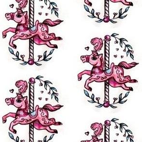 Pink merry-go-round horse
