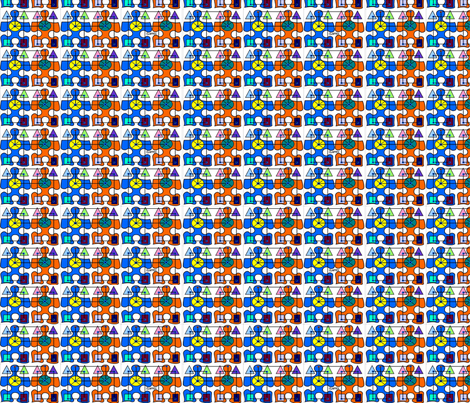 PUZZLE CROWD fabric by cowcheckers on Spoonflower - custom fabric