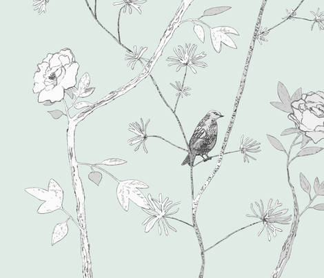 Jenny Modern Peony in duck egg fabric by domesticate on Spoonflower - custom fabric