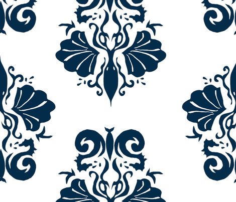 squidallion_dark navy-ch fabric by mugsy&lulu on Spoonflower - custom fabric