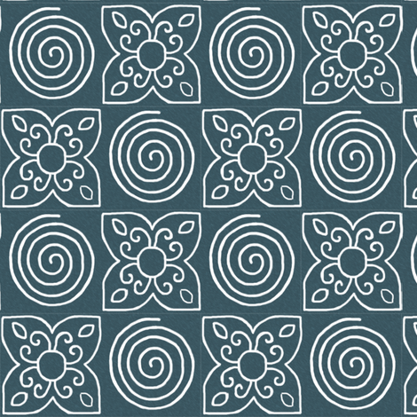 NEWSPIRAL-delicate-overall-pattern-brush-DKTURQsmudge fabric by mina on Spoonflower - custom fabric
