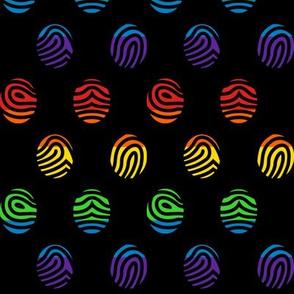 Rainbow fingerprints on black