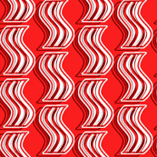 Bacon - White on Bright Red