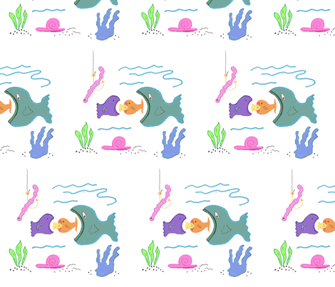 Hungry-Fish fabric by scoutmom131 on Spoonflower - custom fabric
