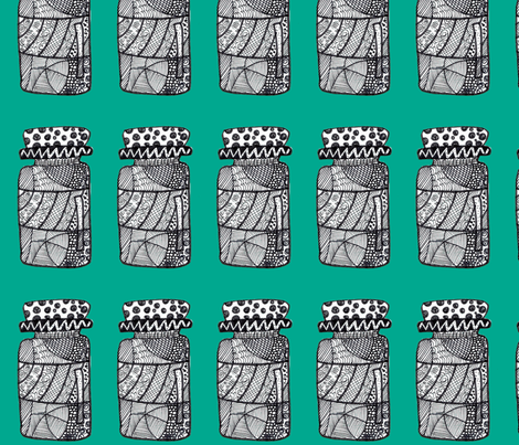 doodled jar emerald green fabric by mimi&me on Spoonflower - custom fabric