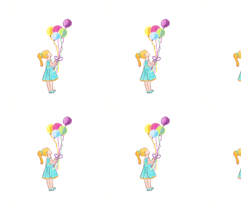 My daughter with Balloons fabric by salzanos on Spoonflower - custom fabric