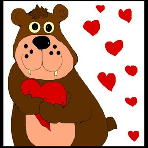 Cartoon Bear with Hearts