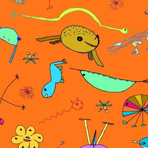 "Imaginary Creatures Collection: Tossed Creatures On an Orange Background - 11"" x 9"" repeat, 300 dpi"