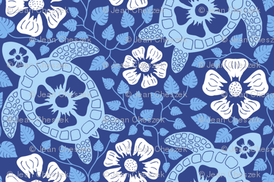 Hawaiian Turtles and Hibiscus - Blues