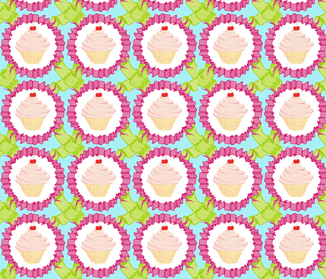 cupcakes and ribbons fabric by caresa on Spoonflower - custom fabric