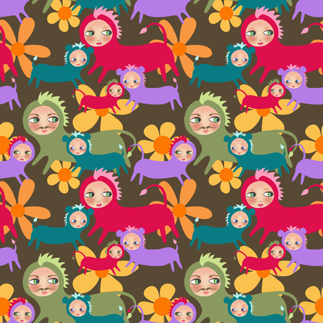 A Bevy of Flighty Gazers fabric by vo_aka_virginiao on Spoonflower - custom fabric