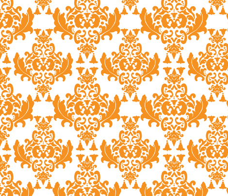 Delicious Damask in Orange fabric by mayabella on Spoonflower - custom fabric