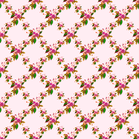 Rose Trellis pink fabric by joanmclemore on Spoonflower - custom fabric