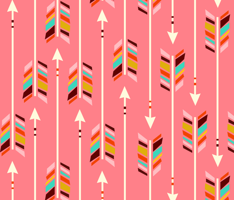 Arrows: Kristin Loves Coral fabric by nadiahassan on Spoonflower - custom fabric