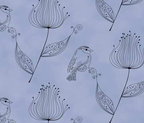 floralBirdFinal fabric by loolu on Spoonflower - custom fabric