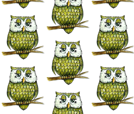 Green Owl fabric by taraput on Spoonflower - custom fabric