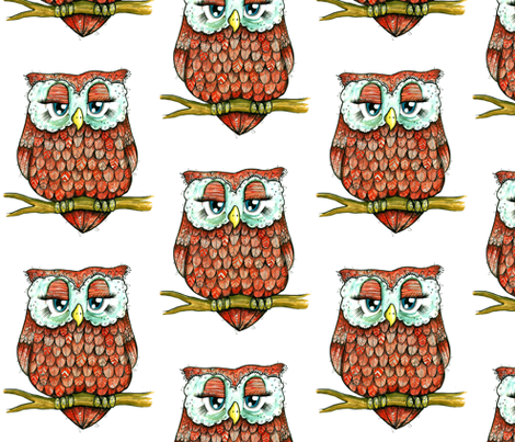 Red Owl fabric by taraput on Spoonflower - custom fabric