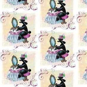 Black Poodle Retro Boudoir Fabric