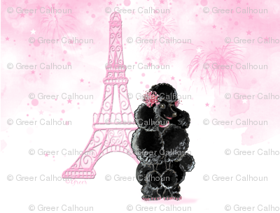 Black French Poodle Pink Eiffel tower