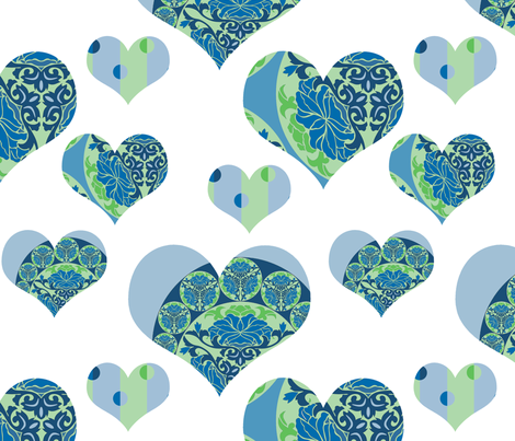 Happy Hearts in blue-green fabric by delsie on Spoonflower - custom fabric