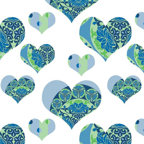 Happy Hearts in blue-green