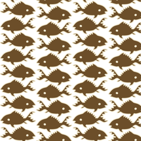 Fishes-1-sand-brown-WHITE fabric by mina on Spoonflower - custom fabric