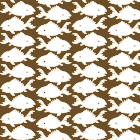 Fishes-1-white-sand-lines-BROWN fabric by mina on Spoonflower - custom fabric
