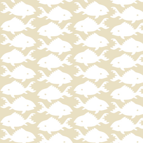 Fishes-1-white-SAND fabric by mina on Spoonflower - custom fabric