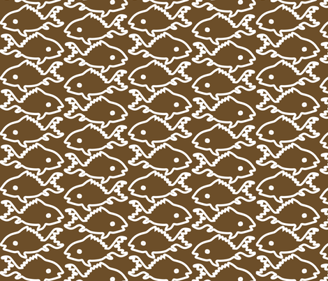 Fishes-1-white-outlines-BROWN fabric by mina on Spoonflower - custom fabric