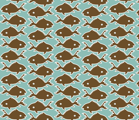 Fishes-1-brown-white-outlines-MINAGREEN fabric by mina on Spoonflower - custom fabric