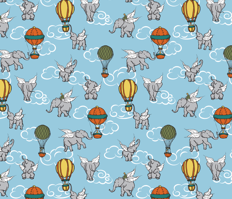 Elephant Air Show fabric by jmckinniss on Spoonflower - custom fabric