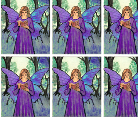 purple book fairy fabric by vinkeli on Spoonflower - custom fabric