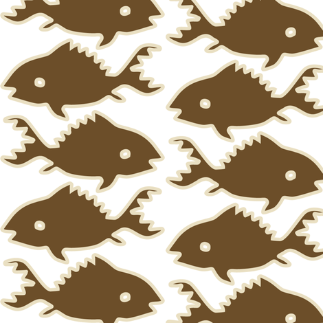 Fishes-1-brown-sand-outlines-WHITE-LG fabric by mina on Spoonflower - custom fabric