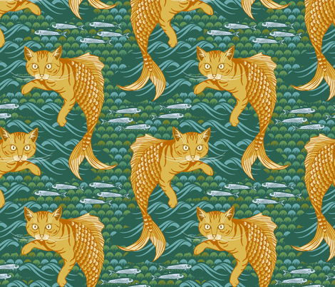 Fishy_felines fabric by cjldesigns on Spoonflower - custom fabric