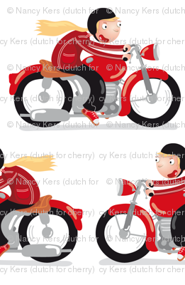 Motorcycle woman (red version)