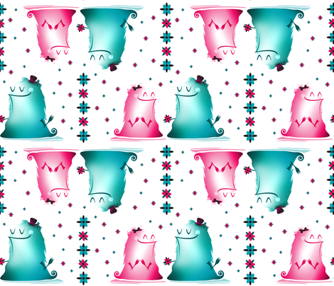 Monster Love fabric by doodletrain on Spoonflower - custom fabric