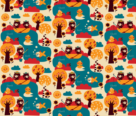 Bears love fish! fabric by bora on Spoonflower - custom fabric