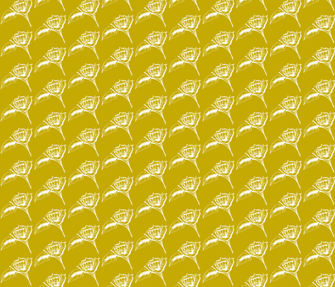 Mustard Roses-ch-ch fabric by littlebeardog on Spoonflower - custom fabric